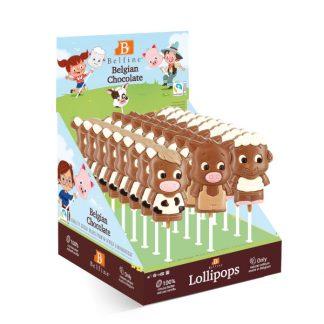 SUCETTE LOLLIPOPS CHOCOLAT ANIMAUX DE LA FERME 35g x 24