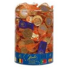 Filet de pièces chocolat au lait de 24g, tubo de 60 filets de pièces euro