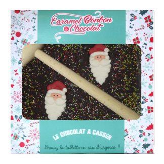 CBC069 Tablette à casser chocolat, Père Noël décor en sucre, chocolat noir 300gx4