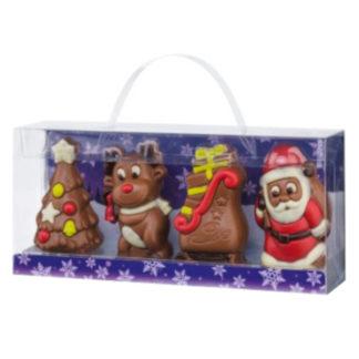 Valisette moulage chocolat figurines de Noël, chocolat au lait et blanc 120g