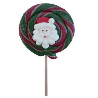 """Sucette """"fête foraine"""" Noël, sucette ronde avec tête de Père Noël en sucre"""
