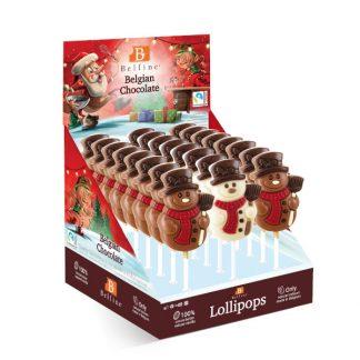 Sucette lollipops chocolat Bonhomme de neige Belfine 35gx24 (LA51D)