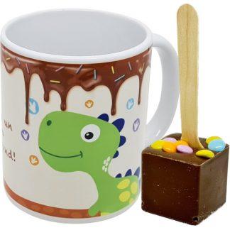 mug Dinosaure cuillère chocolat chaud - chocolat lait pastilles couleur x6