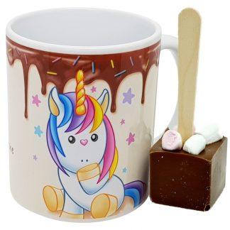 mug Licorne cuillère chocolat chaud - chocolat lait minis guimauves x6