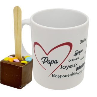 mug Papa cuillère chocolat chaud - chocolat lait pastilles de couleur x6