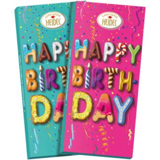 Tablette de chocolat Happy Birthday, chocolat au lait effet 3D